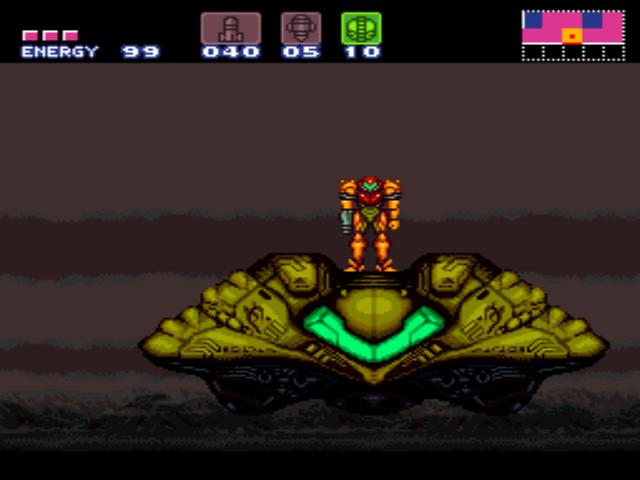 Another way to perform a complete resupply is to return to Samus' ship on the surface of Zebes, though this is only possible at certain points and once you descend into the depths of the planet it can be a long time before you are able to return.